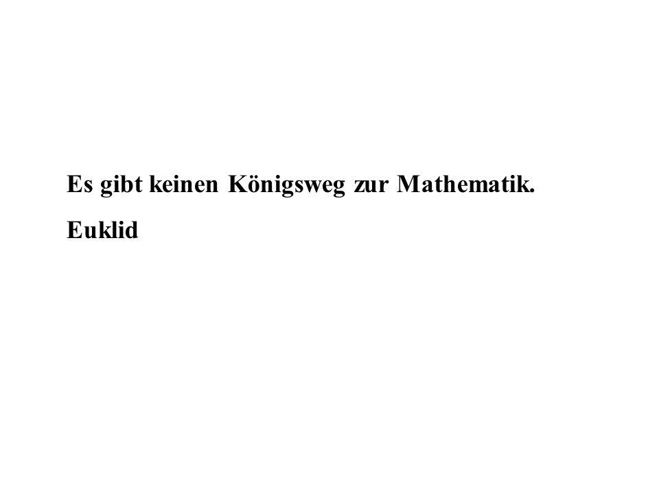 Es gibt keinen Königsweg zur Mathematik. Euklid