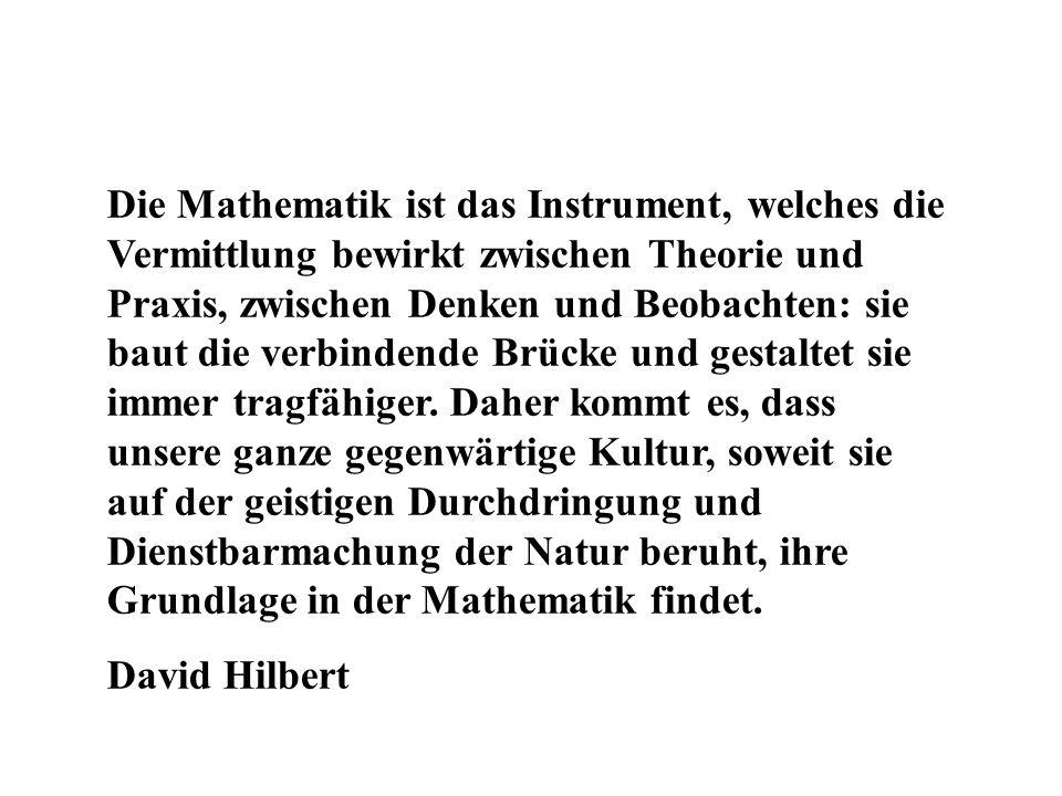 Die Mathematik ist das Instrument, welches die Vermittlung bewirkt zwischen Theorie und Praxis, zwischen Denken und Beobachten: sie baut die verbinden