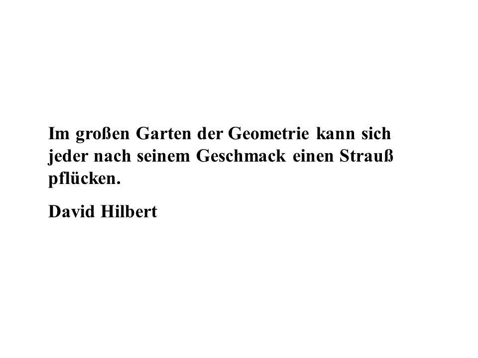 Im großen Garten der Geometrie kann sich jeder nach seinem Geschmack einen Strauß pflücken. David Hilbert