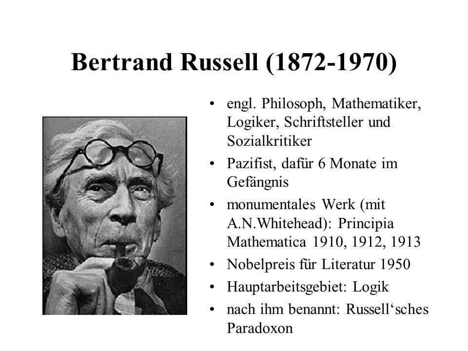 Bertrand Russell (1872-1970) engl. Philosoph, Mathematiker, Logiker, Schriftsteller und Sozialkritiker Pazifist, dafür 6 Monate im Gefängnis monumenta