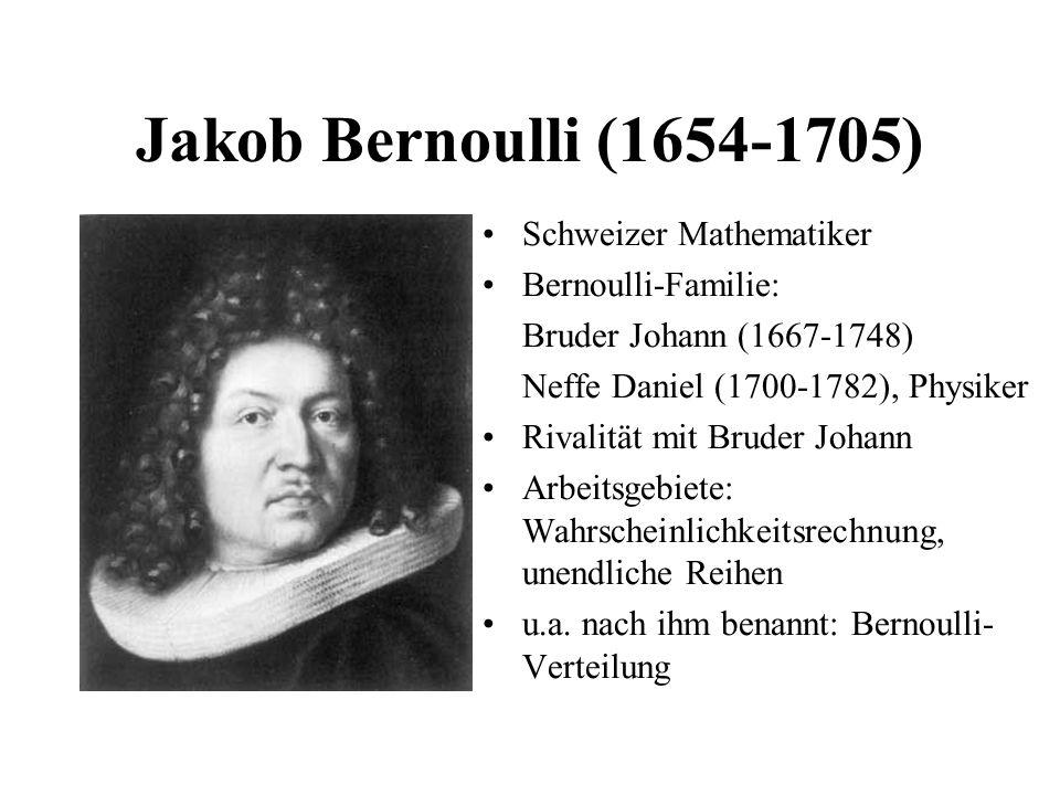 Jakob Bernoulli (1654-1705) Schweizer Mathematiker Bernoulli-Familie: Bruder Johann (1667-1748) Neffe Daniel (1700-1782), Physiker Rivalität mit Brude