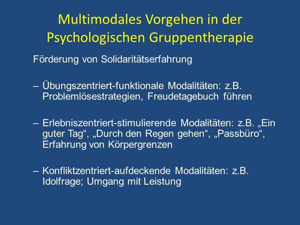 Multimodales Vorgehen in der Psychologischen Gruppentherapie Förderung von Solidaritätserfahrung –Übungszentriert-funktionale Modalitäten: z.B. Proble