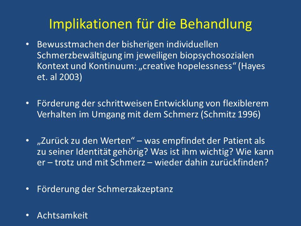 Implikationen für die Behandlung Bewusstmachen der bisherigen individuellen Schmerzbewältigung im jeweiligen biopsychosozialen Kontext und Kontinuum:
