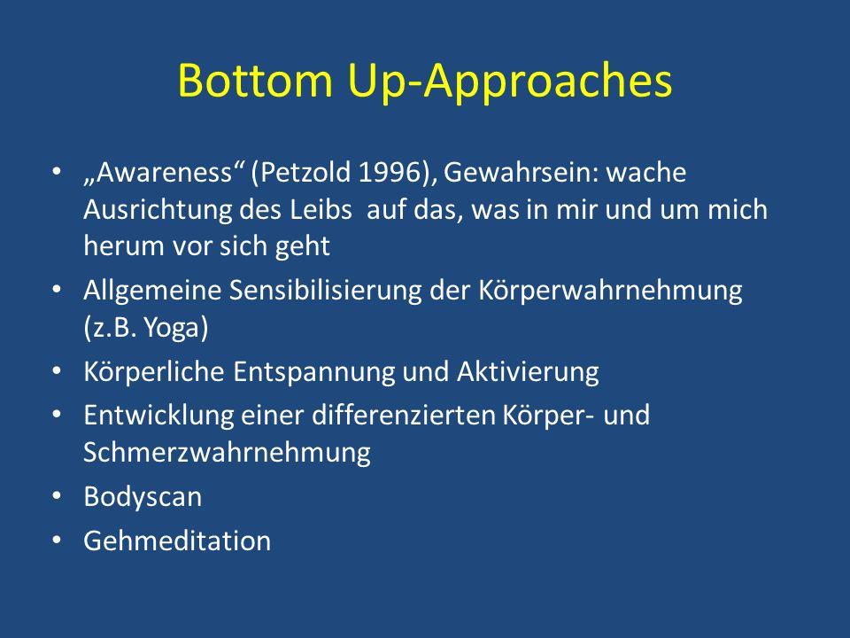 Bottom Up-Approaches Awareness (Petzold 1996), Gewahrsein: wache Ausrichtung des Leibs auf das, was in mir und um mich herum vor sich geht Allgemeine