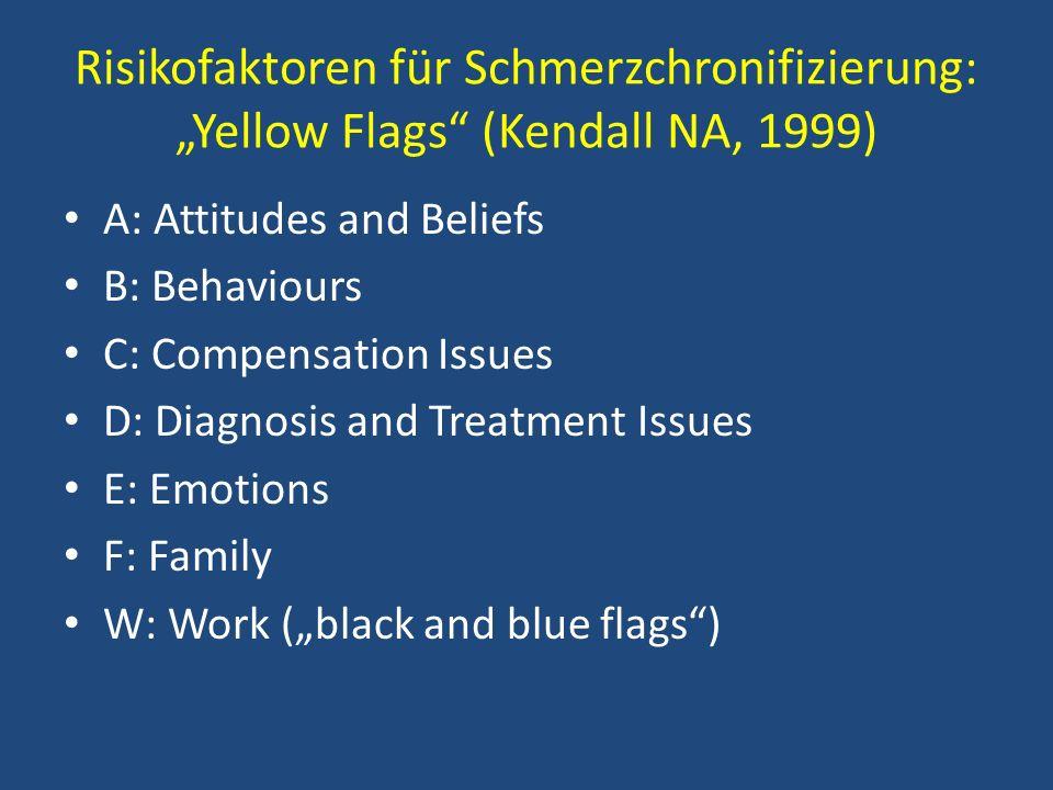Risikofaktoren für Schmerzchronifizierung: Yellow Flags (Kendall NA, 1999) A: Attitudes and Beliefs B: Behaviours C: Compensation Issues D: Diagnosis
