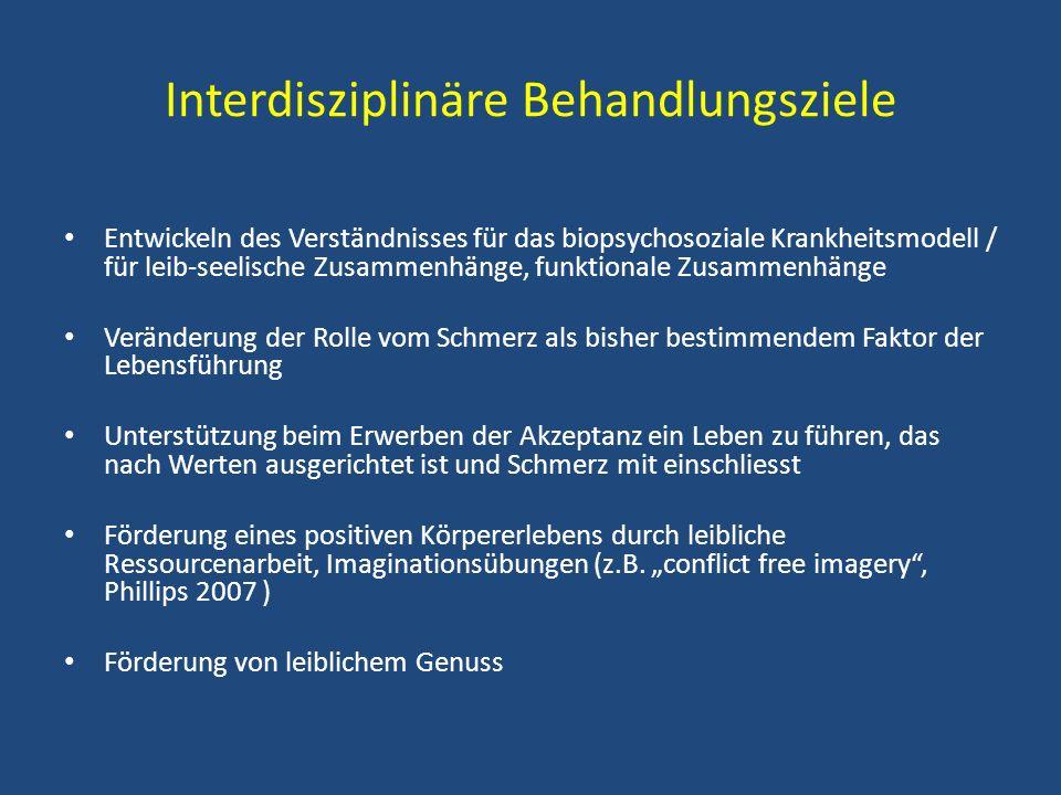 Interdisziplinäre Behandlungsziele Entwickeln des Verständnisses für das biopsychosoziale Krankheitsmodell / für leib-seelische Zusammenhänge, funktio