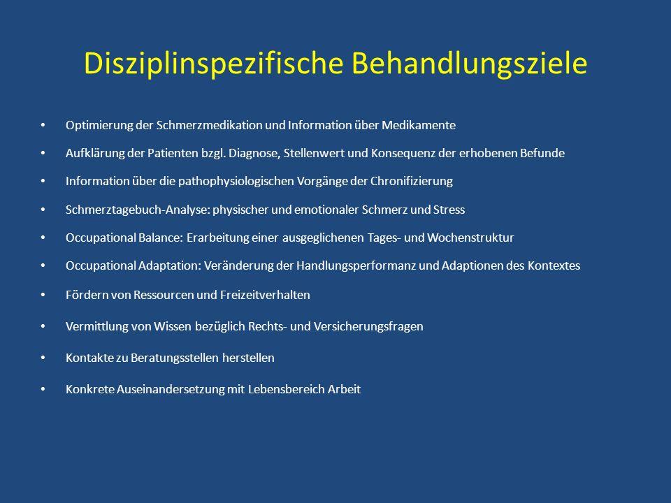 Disziplinspezifische Behandlungsziele Optimierung der Schmerzmedikation und Information über Medikamente Aufklärung der Patienten bzgl. Diagnose, Stel