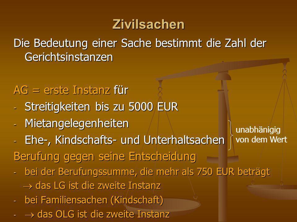 Zivilsachen Die Bedeutung einer Sache bestimmt die Zahl der Gerichtsinstanzen AG = erste Instanz für - Streitigkeiten bis zu 5000 EUR - Mietangelegenh