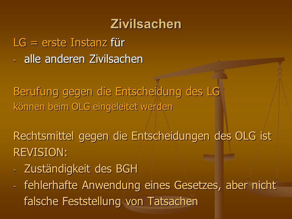 Zivilsachen LG = erste Instanz für - alle anderen Zivilsachen Berufung gegen die Entscheidung des LG können beim OLG eingeleitet werden Rechtsmittel g