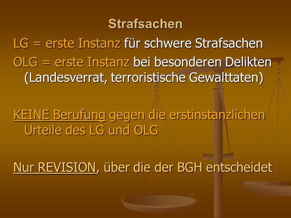 Strafsachen LG = erste Instanz für schwere Strafsachen OLG = erste Instanz bei besonderen Delikten (Landesverrat, terroristische Gewalttaten) KEINE Be
