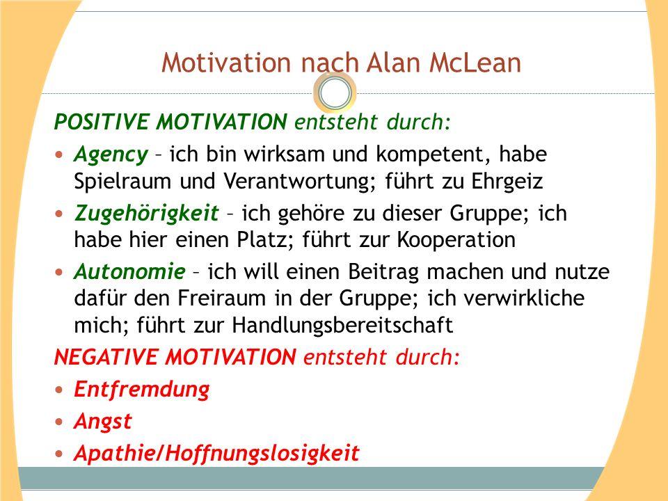Motivation nach Alan McLean POSITIVE MOTIVATION entsteht durch: Agency – ich bin wirksam und kompetent, habe Spielraum und Verantwortung; führt zu Ehr