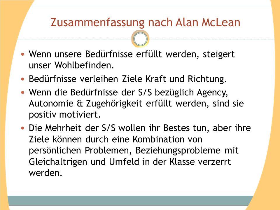 Zusammenfassung nach Alan McLean Wenn unsere Bedürfnisse erfüllt werden, steigert unser Wohlbefinden. Bedürfnisse verleihen Ziele Kraft und Richtung.