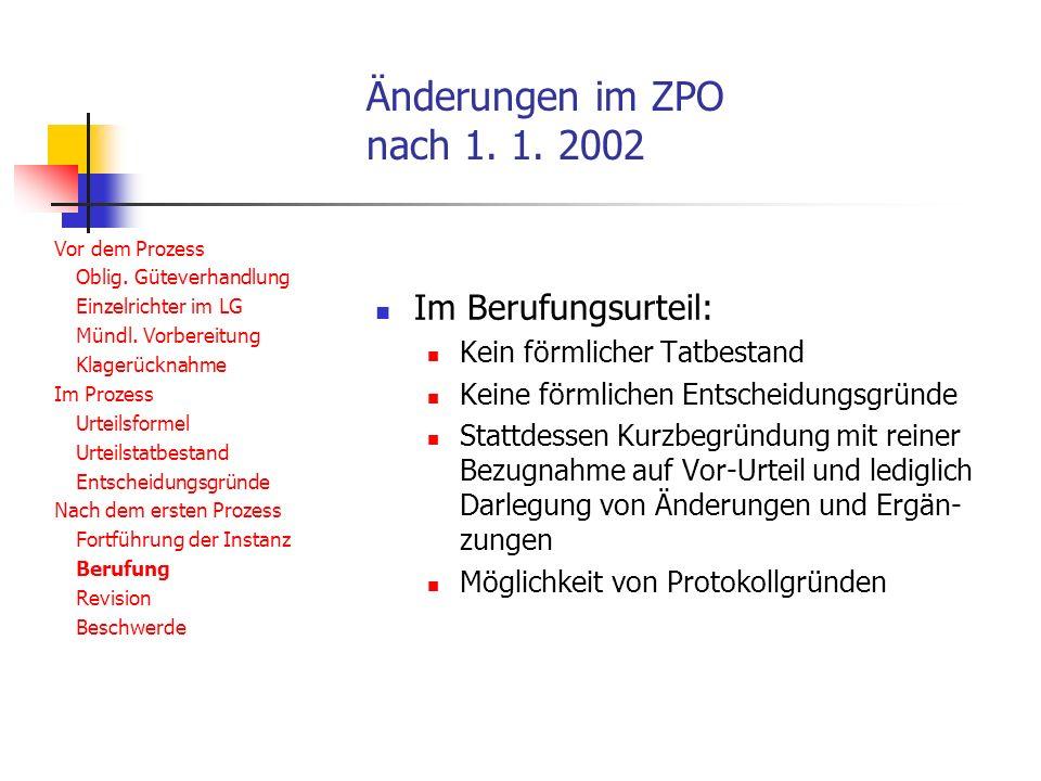 Änderungen im ZPO nach 1. 1. 2002 Vor dem Prozess Oblig.