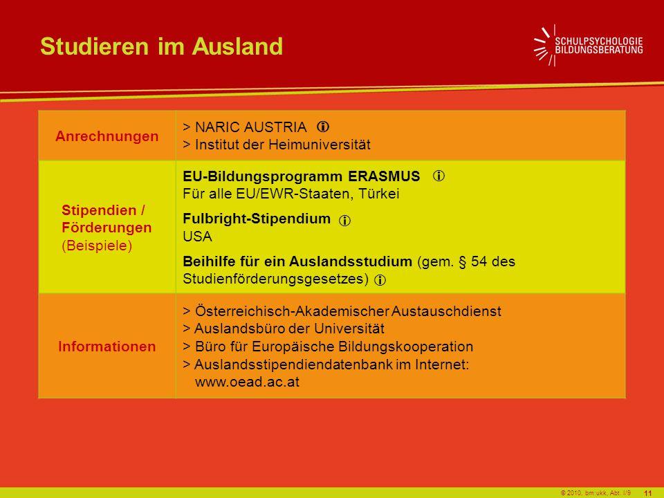 © 2010, bm:ukk, Abt. I/9 Studieren im Ausland Anrechnungen > NARIC AUSTRIA > Institut der Heimuniversität Stipendien / Förderungen (Beispiele) EU-Bild
