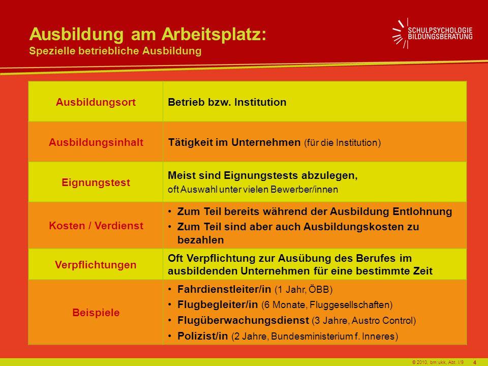 © 2010, bm:ukk, Abt. I/9 Ausbildung am Arbeitsplatz: Spezielle betriebliche Ausbildung AusbildungsortBetrieb bzw. Institution AusbildungsinhaltTätigke