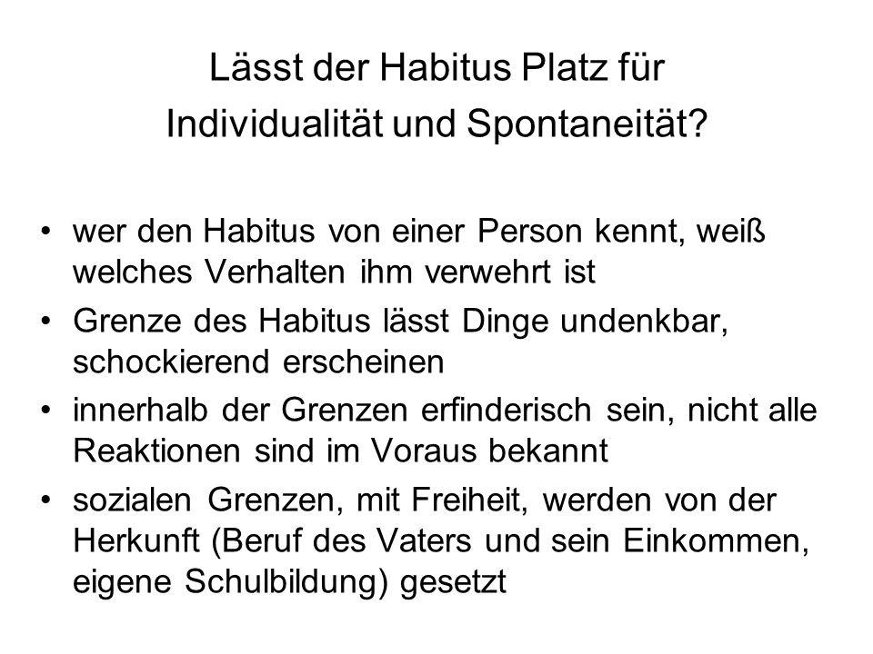 Lässt der Habitus Platz für Individualität und Spontaneität? wer den Habitus von einer Person kennt, weiß welches Verhalten ihm verwehrt ist Grenze de