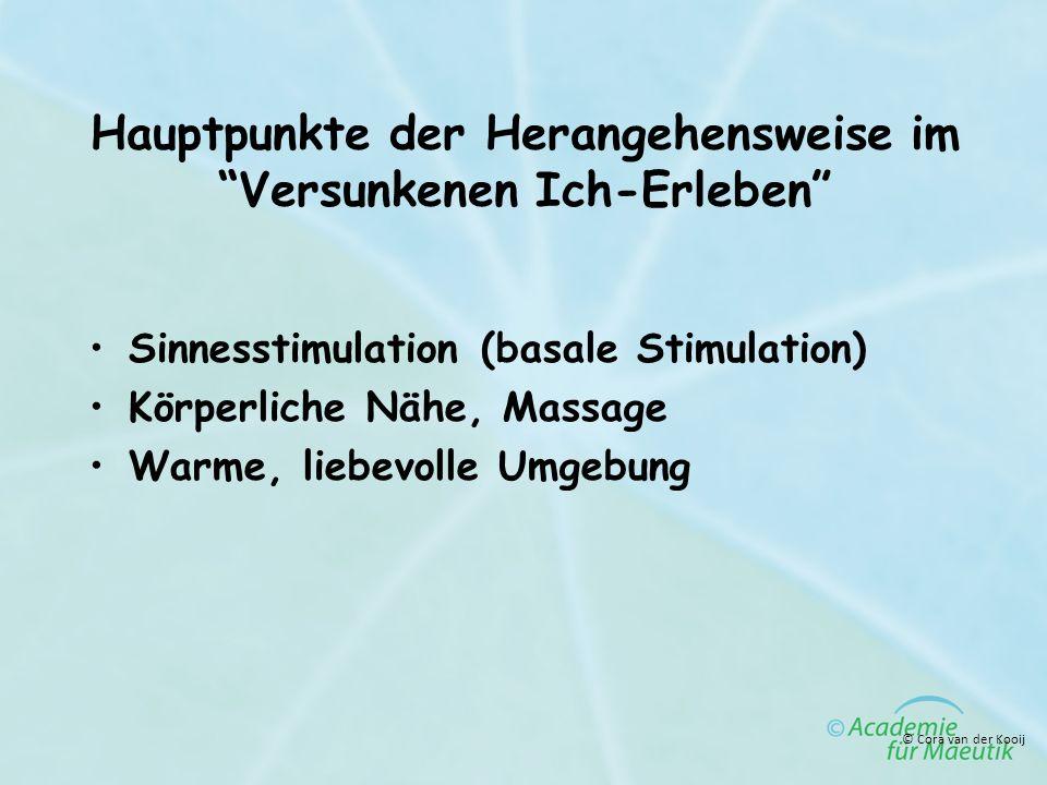 Hauptpunkte der Herangehensweise im Versunkenen Ich-Erleben Sinnesstimulation (basale Stimulation) Körperliche Nähe, Massage Warme, liebevolle Umgebun