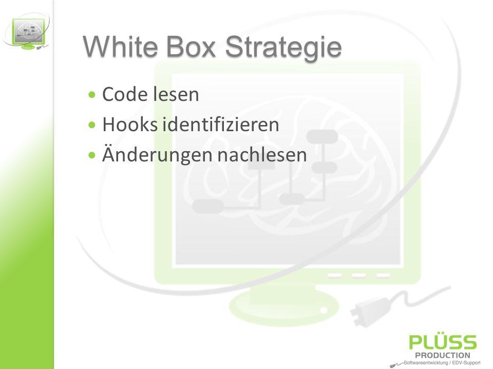 White Box Strategie Code lesen Hooks identifizieren Änderungen nachlesen