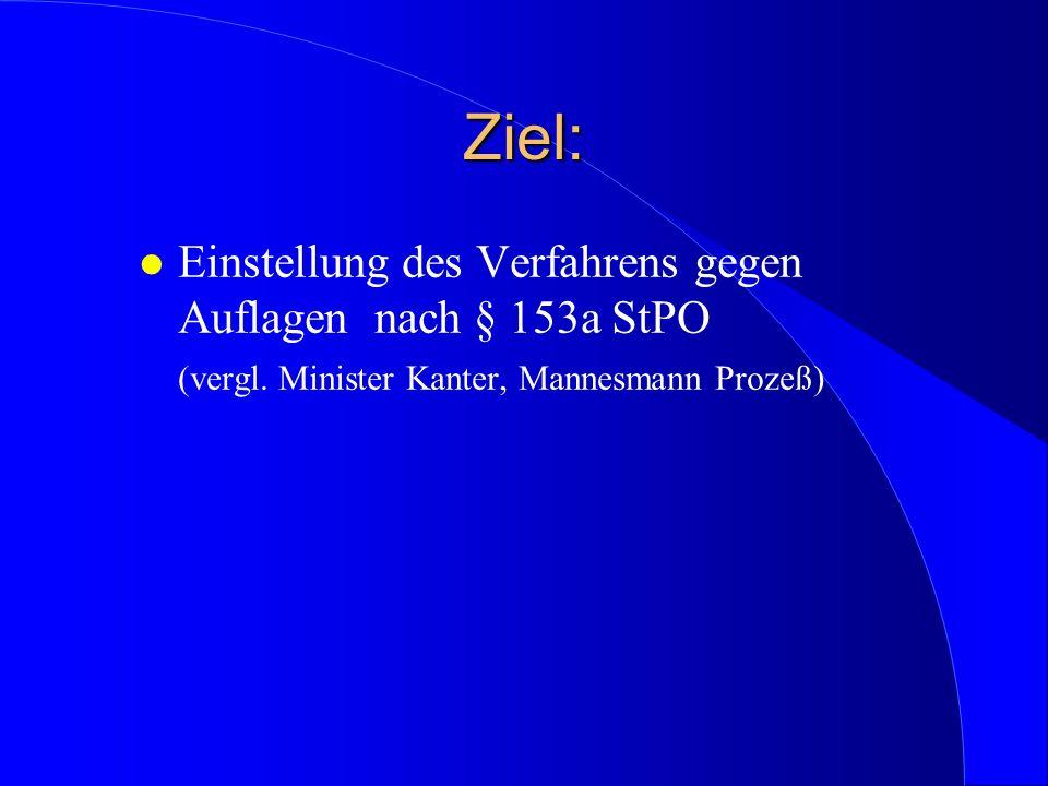 Ziel: l Einstellung des Verfahrens gegen Auflagen nach § 153a StPO (vergl. Minister Kanter, Mannesmann Prozeß)