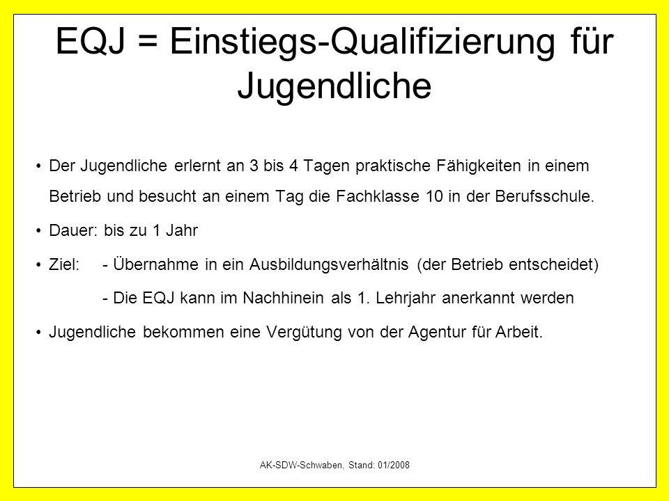 AK-SDW-Schwaben, Stand: 01/2008 EQJ = Einstiegs-Qualifizierung für Jugendliche Der Jugendliche erlernt an 3 bis 4 Tagen praktische Fähigkeiten in eine