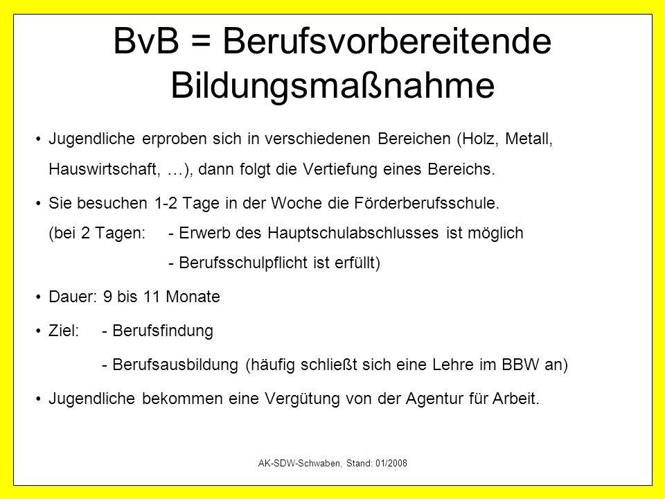 AK-SDW-Schwaben, Stand: 01/2008 BvB = Berufsvorbereitende Bildungsmaßnahme Jugendliche erproben sich in verschiedenen Bereichen (Holz, Metall, Hauswir