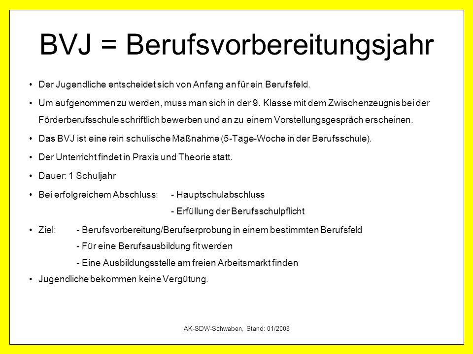 AK-SDW-Schwaben, Stand: 01/2008 Weitere Maßnahmen … … der Agentur für Arbeit (AfA) BvB = Berufsvorbereitende Bildungsmaßnahme EQJ = Einstiegsqualifizierung für Jugendliche … der Berufsschule BVJ = Berufsvorbereitungsjahr