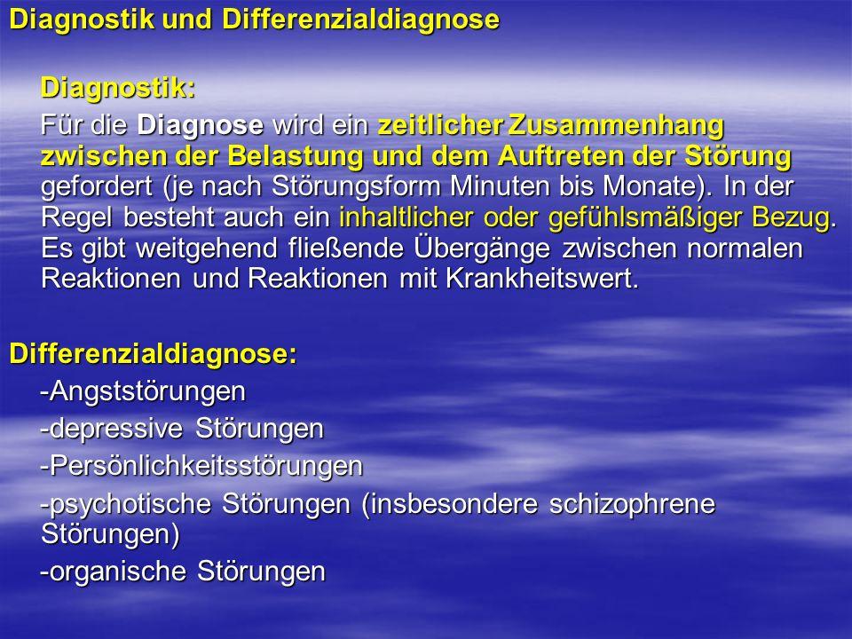 Diagnostik und Differenzialdiagnose Diagnostik: Diagnostik: Für die Diagnose wird ein zeitlicher Zusammenhang zwischen der Belastung und dem Auftreten