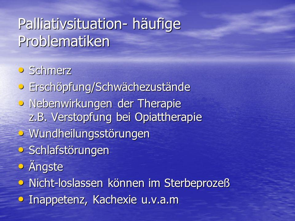 Palliativsituation- häufige Problematiken Schmerz Schmerz Erschöpfung/Schwächezustände Erschöpfung/Schwächezustände Nebenwirkungen der Therapie z.B. V