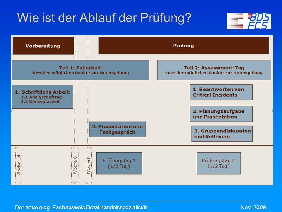 Nov 2009Der neue eidg. Fachausweis Detailhandelsspezialist/in Wie ist der Ablauf der Prüfung?