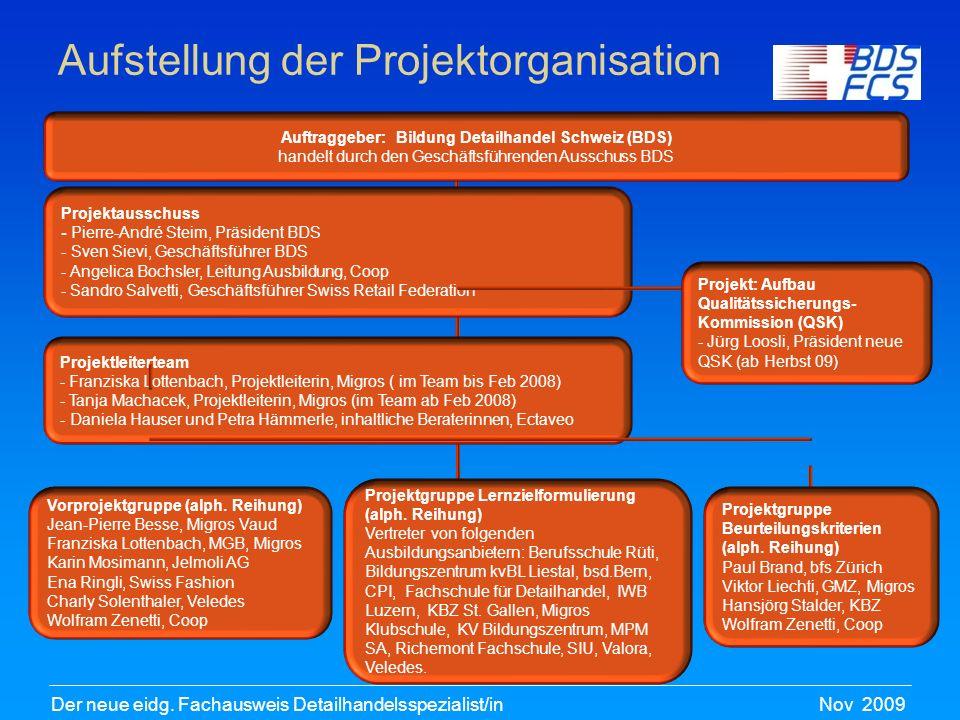 Nov 2009Der neue eidg. Fachausweis Detailhandelsspezialist/in Aufstellung der Projektorganisation Projektausschuss - Pierre-André Steim, Präsident BDS