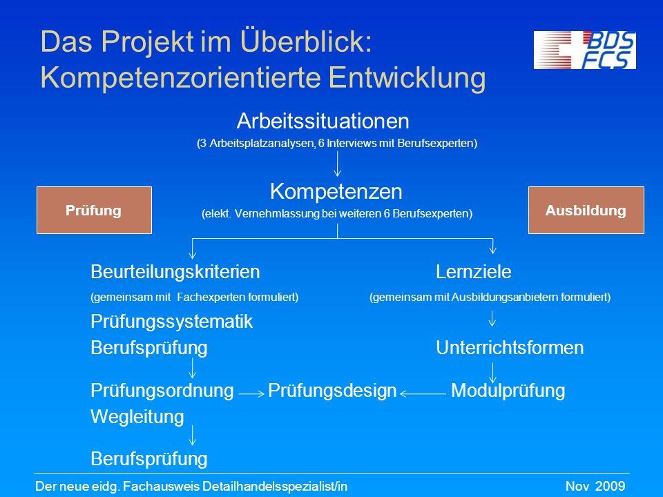 Nov 2009Der neue eidg. Fachausweis Detailhandelsspezialist/in Das Projekt im Überblick: Kompetenzorientierte Entwicklung Arbeitssituationen (3 Arbeits