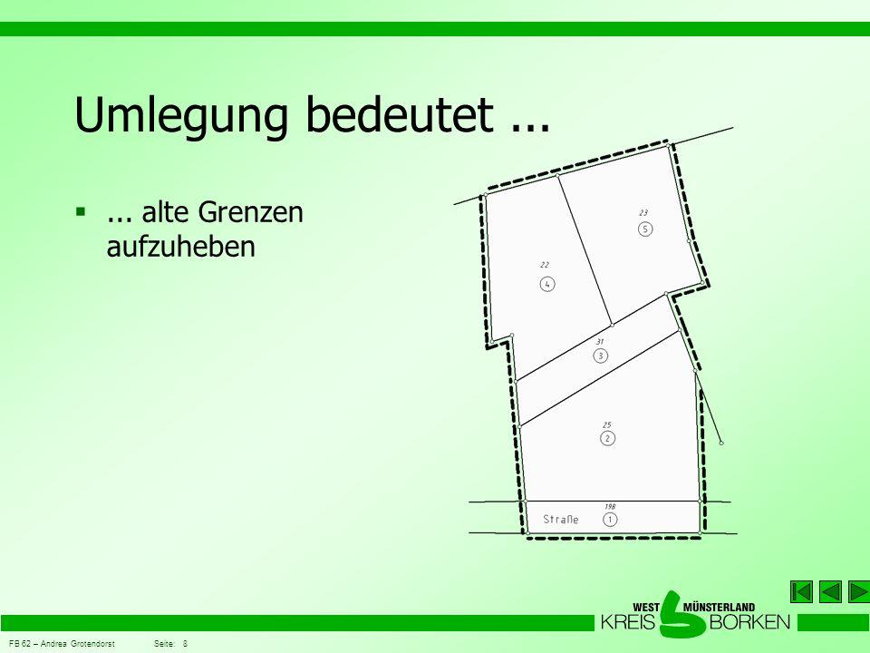 FB 62 – Andrea Grotendorst Seite: 19 Grundsätze der Umlegung Der Bodenwert vor Umlegung wird ermittelt und beschlossen z.B.