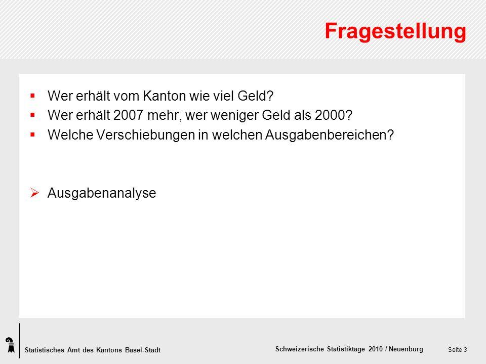 Statistisches Amt des Kantons Basel-Stadt Schweizerische Statistiktage 2010 / Neuenburg Seite 3 Fragestellung Wer erhält vom Kanton wie viel Geld.