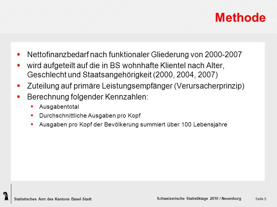 Statistisches Amt des Kantons Basel-Stadt Schweizerische Statistiktage 2010 / Neuenburg Seite 5 Methode Nettofinanzbedarf nach funktionaler Gliederung