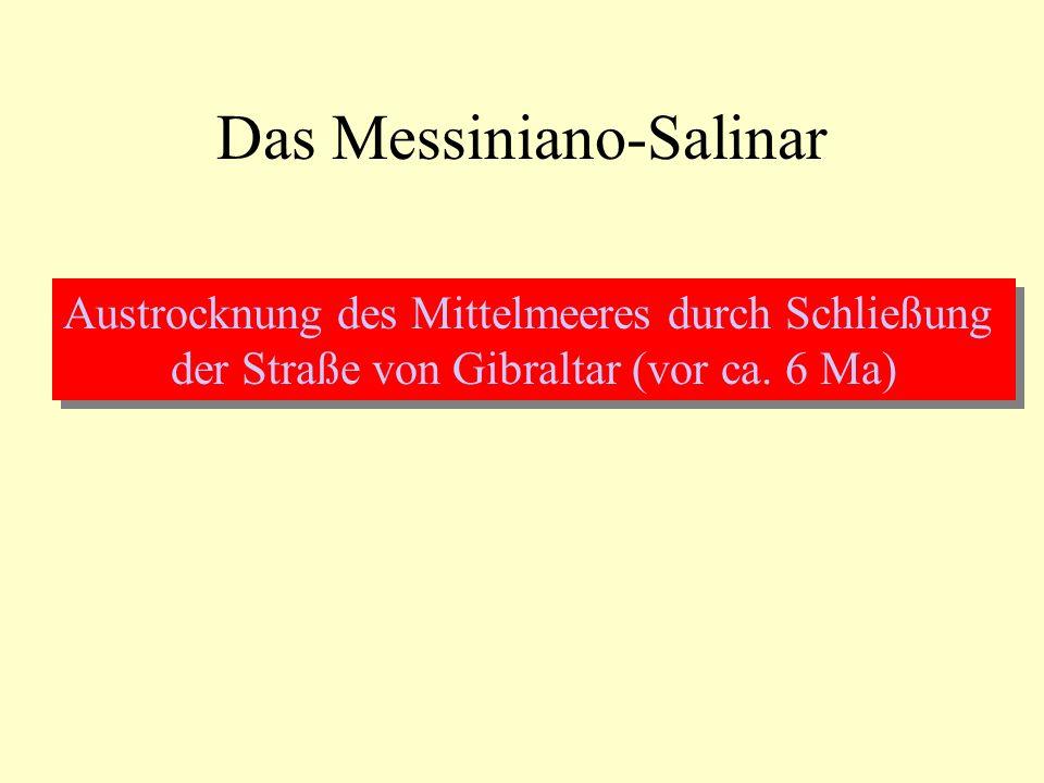 Das Messiniano-Salinar Austrocknung des Mittelmeeres durch Schließung der Straße von Gibraltar (vor ca. 6 Ma) Austrocknung des Mittelmeeres durch Schl