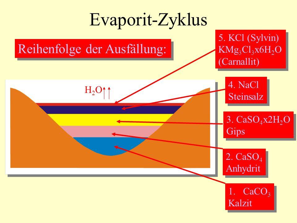 Evaporit-Zyklus Reihenfolge der Ausfällung: 1.CaCO 3 Kalzit 1.CaCO 3 Kalzit 2. CaSO 4 Anhydrit 2. CaSO 4 Anhydrit 3. CaSO 4 x2H 2 O Gips 3. CaSO 4 x2H