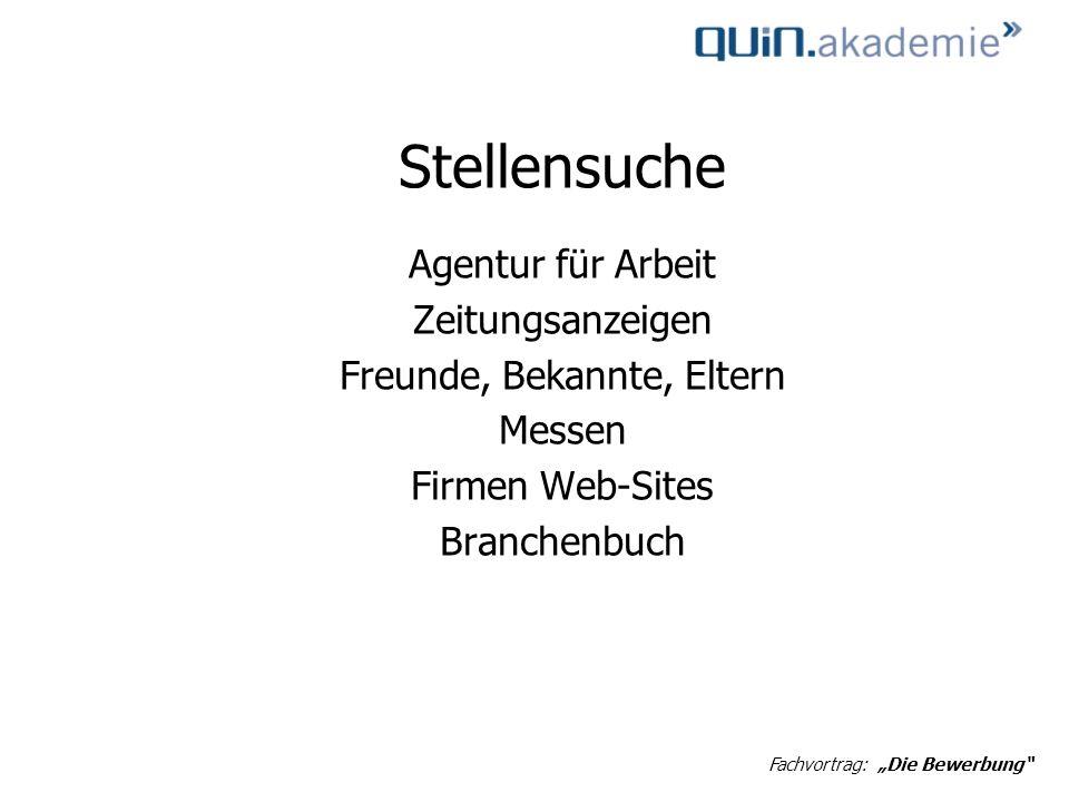 Stellensuche Agentur für Arbeit Zeitungsanzeigen Freunde, Bekannte, Eltern Messen Firmen Web-Sites Branchenbuch Fachvortrag: Die Bewerbung