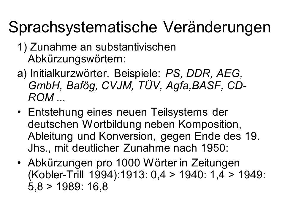 Sprachsystematische Veränderungen 1) Zunahme an substantivischen Abkürzungswörtern: a) Initialkurzwörter. Beispiele: PS, DDR, AEG, GmbH, Bafög, CVJM,
