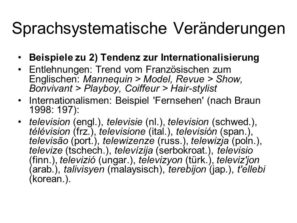 Sprachsystematische Veränderungen Beispiele zu 2) Tendenz zur Internationalisierung Entlehnungen: Trend vom Französischen zum Englischen: Mannequin >