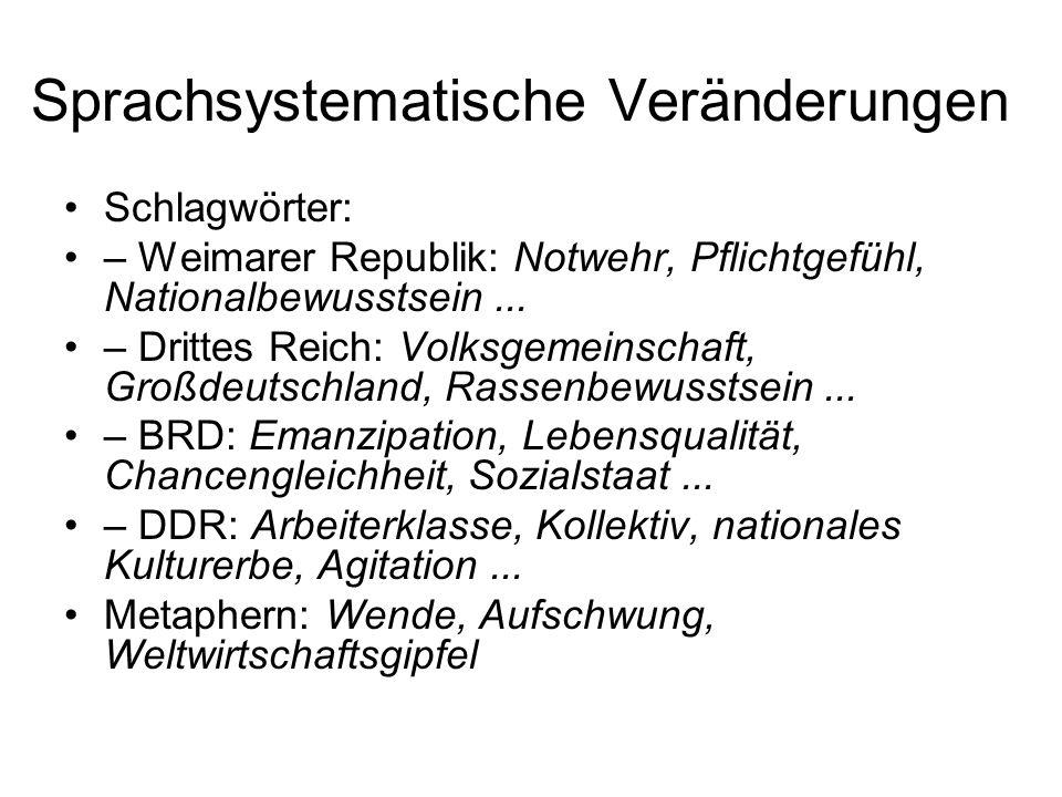 Sprachsystematische Veränderungen Schlagwörter: – Weimarer Republik: Notwehr, Pflichtgefühl, Nationalbewusstsein... – Drittes Reich: Volksgemeinschaft