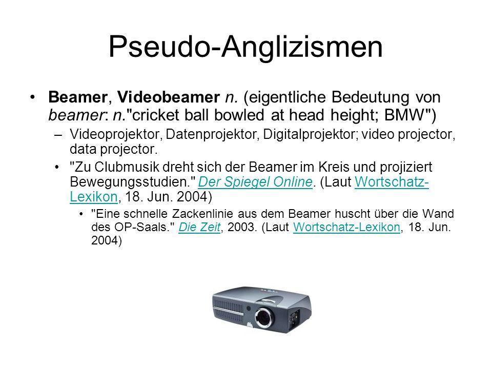 Pseudo-Anglizismen Beamer, Videobeamer n. (eigentliche Bedeutung von beamer: n.