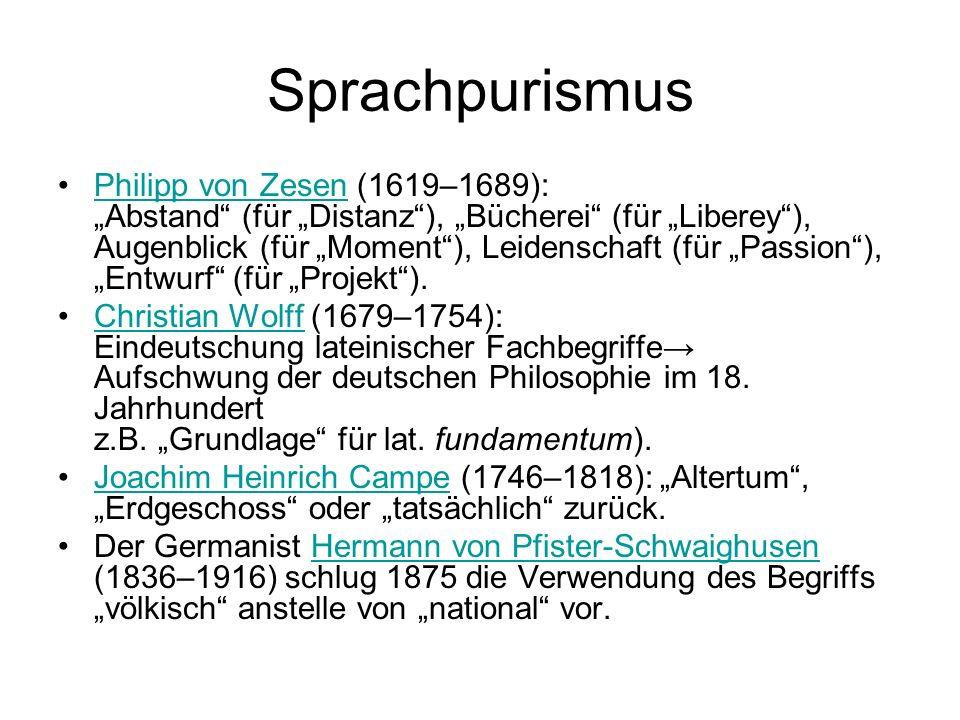 Sprachpurismus Philipp von Zesen (1619–1689): Abstand (für Distanz), Bücherei (für Liberey), Augenblick (für Moment), Leidenschaft (für Passion), Entw