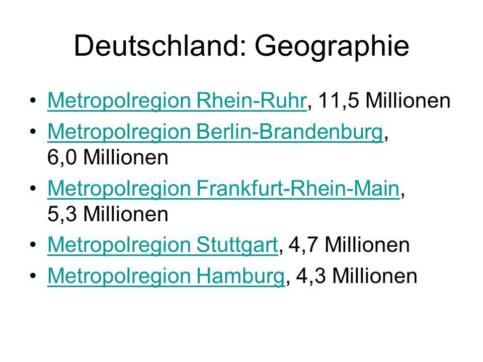 Deutschland: Geographie Metropolregion Rhein-Ruhr, 11,5 MillionenMetropolregion Rhein-Ruhr Metropolregion Berlin-Brandenburg, 6,0 MillionenMetropolreg
