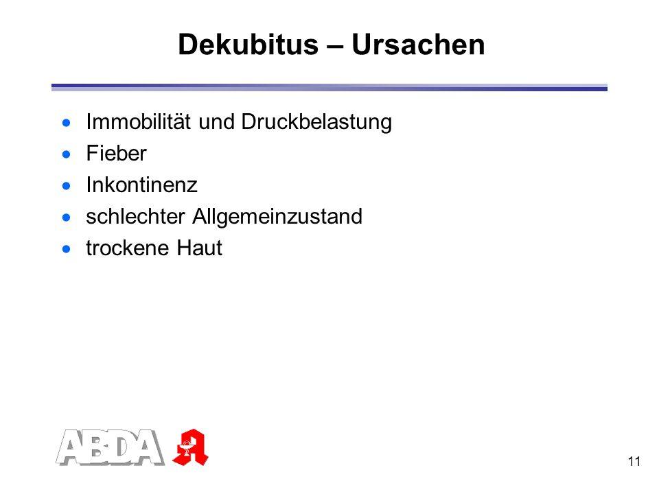 11 Dekubitus – Ursachen Immobilität und Druckbelastung Fieber Inkontinenz schlechter Allgemeinzustand trockene Haut