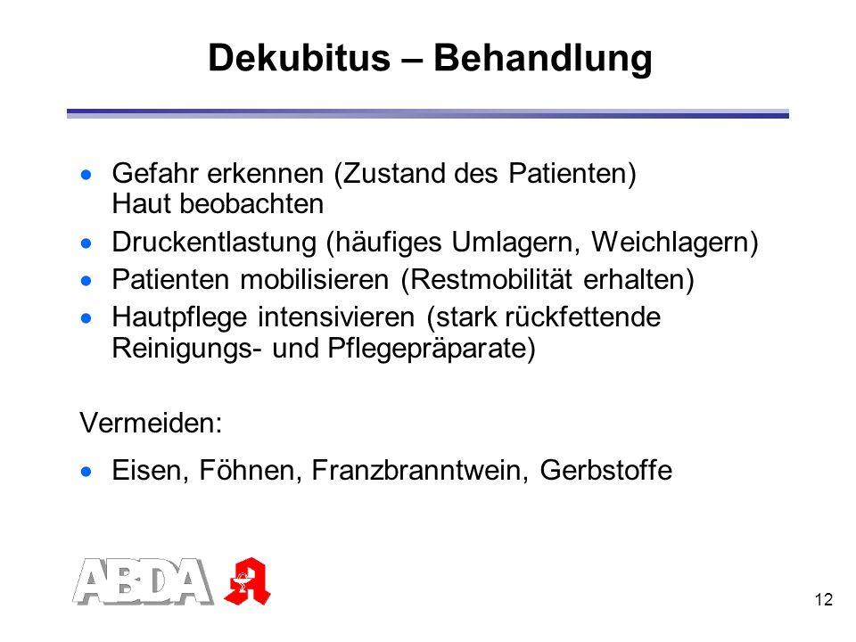 12 Dekubitus – Behandlung Gefahr erkennen (Zustand des Patienten) Haut beobachten Druckentlastung (häufiges Umlagern, Weichlagern) Patienten mobilisie