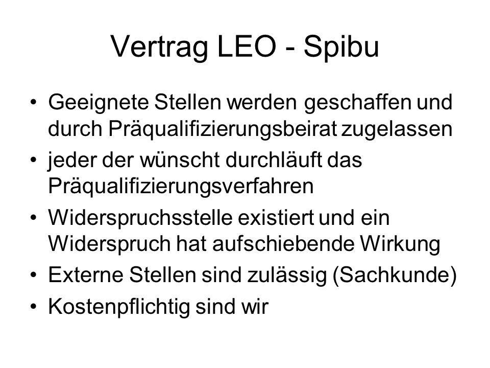 Vertrag LEO - Spibu Geeignete Stellen werden geschaffen und durch Präqualifizierungsbeirat zugelassen jeder der wünscht durchläuft das Präqualifizieru