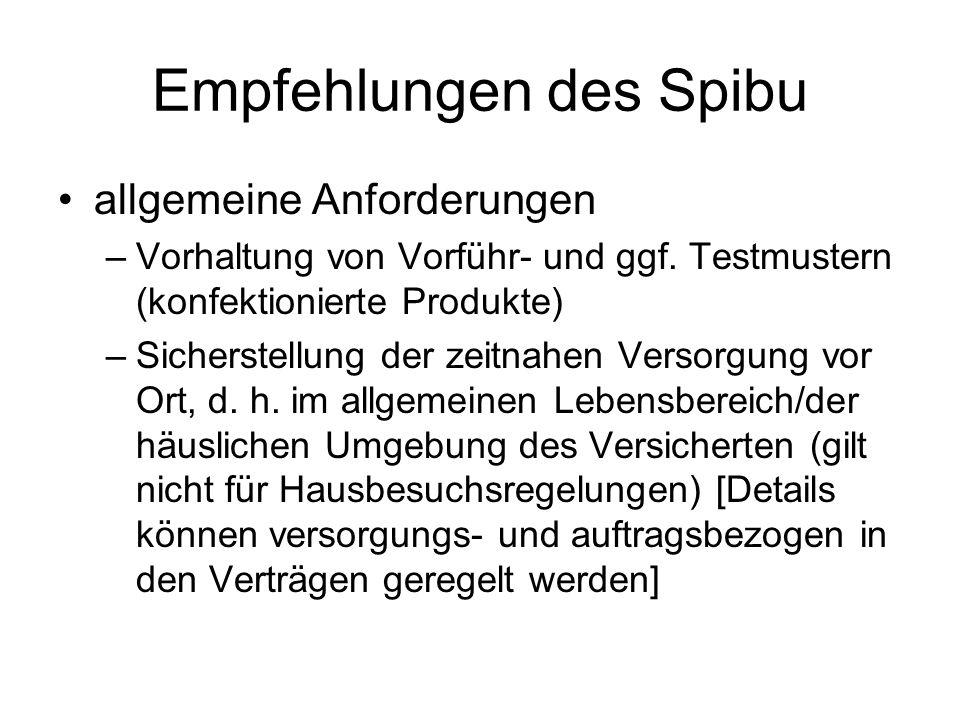 Empfehlungen des Spibu allgemeine Anforderungen –Vorhaltung von Vorführ- und ggf.