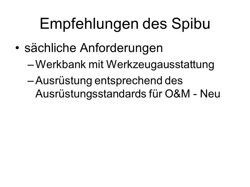 Empfehlungen des Spibu sächliche Anforderungen –Werkbank mit Werkzeugausstattung –Ausrüstung entsprechend des Ausrüstungsstandards für O&M - Neu