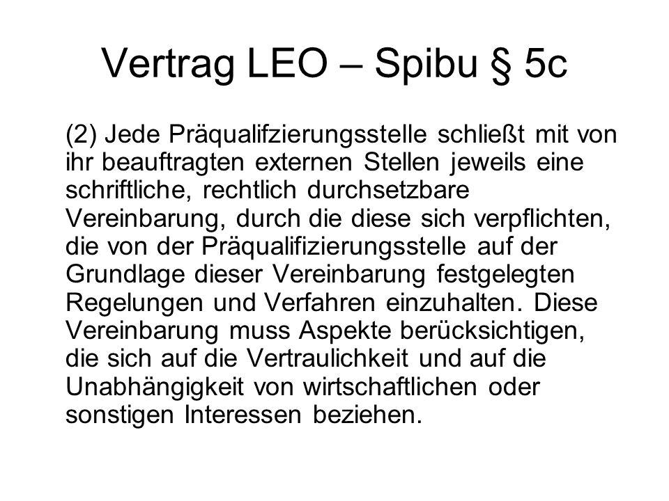 Vertrag LEO – Spibu § 5c (2) Jede Präqualifzierungsstelle schließt mit von ihr beauftragten externen Stellen jeweils eine schriftliche, rechtlich durc