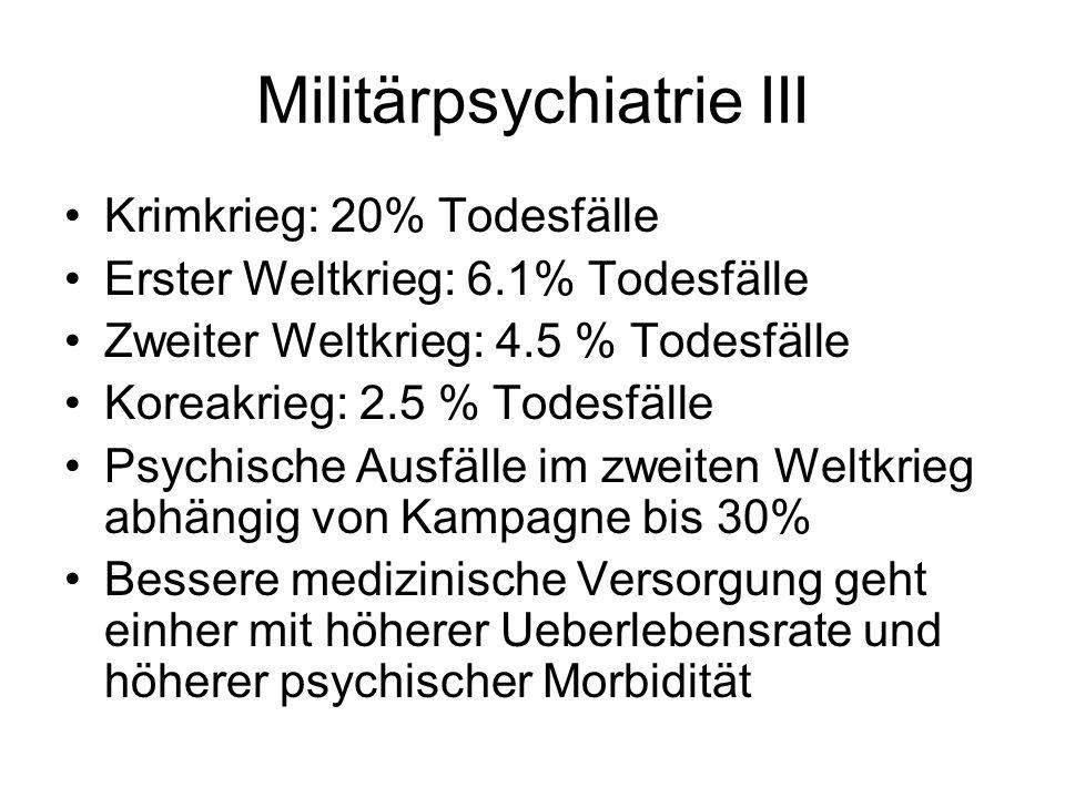 Militärpsychiatrie III Krimkrieg: 20% Todesfälle Erster Weltkrieg: 6.1% Todesfälle Zweiter Weltkrieg: 4.5 % Todesfälle Koreakrieg: 2.5 % Todesfälle Ps